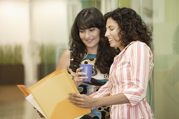 Two women looking at report