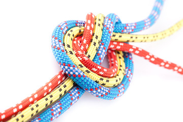 blue, yellow and red rope knot