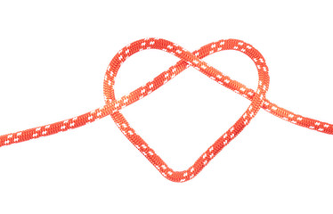 red rope heart knot