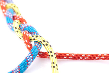 blue, yellow and red rope braid