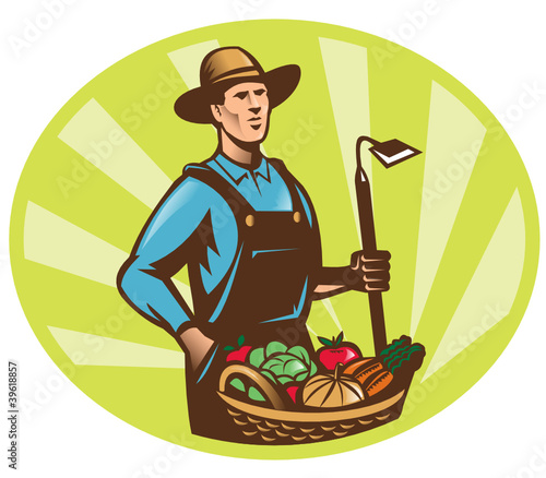 Farmer Garden Hoe And Basket Crop Harvest
