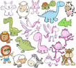 Cute Animal Vector Illustration Set