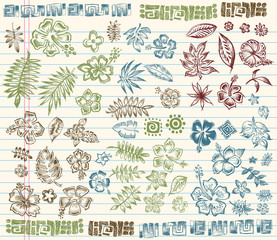 Tropical Summer Sketch Doodle Elements Vector Set