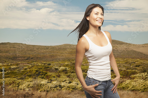 Portrait of woman in tank top