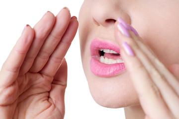 Woman shouting close up