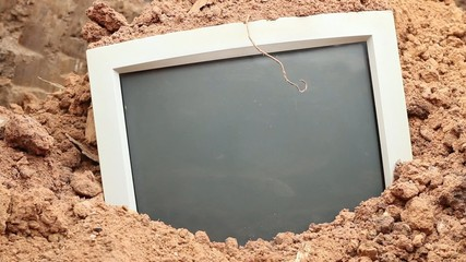 hd video of old computer monitor buried