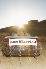 Convertible with Just Married sign on the back
