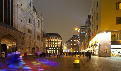 Square before St. Stephen's Cathedral in night