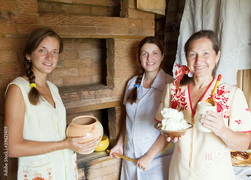 Women with  home-made meal