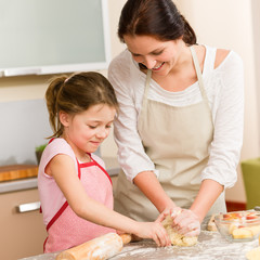 Mother and daughter prepare dough home cake