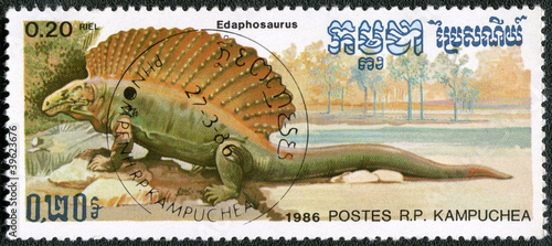 KAMPUCHEA - 1986: shows Edaphosaurus, series devoted to prehisto