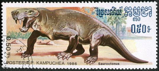 KAMPUCHEA - 1986: shows Sauroctonus, series devoted to prehistor