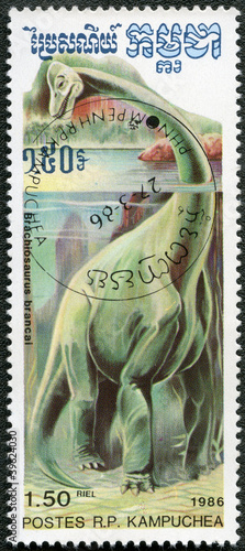 KAMPUCHEA - 1986: shows Brachiosaurus, series devoted to prehist