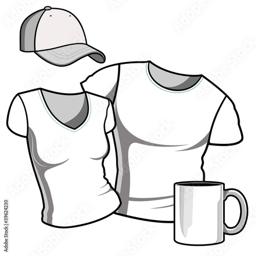 T-shirt men and women. Baseball cap. Photorealistic white cup.