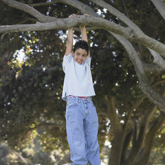 Young boy hanging from a tree branch
