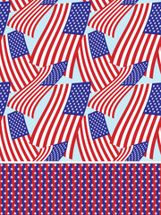 Stars and stripes seamless background set