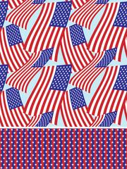 Stars and stripes seamless background set