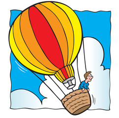 Man in hot air balloon