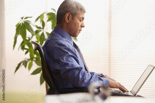 Mature businessman using a laptop