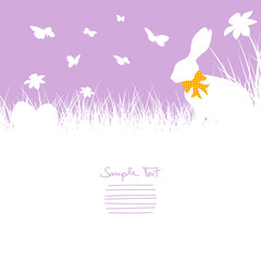 Bunny With Bow In Meadow, Butterflies, Daffodils & Eggs Purple