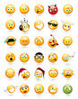 Large vector set of 30 emoticons with various facial expressions