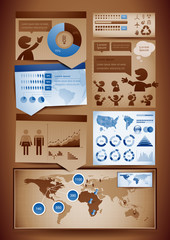 Vector set of brown and blue themed infographics design elements
