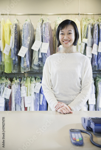 Happy Asian drycleaner