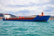 blue containers ship