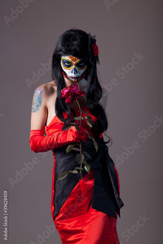 Sugar skull girl with rose