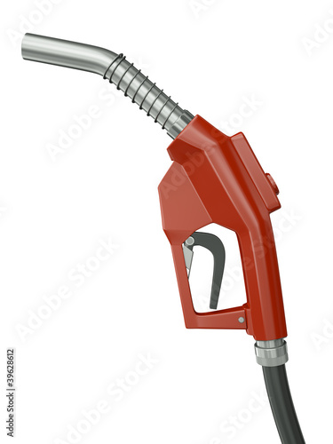 Red gas pump nozzle isolated on white background. 3D render