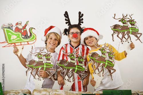 Group of children with Christmas decorations