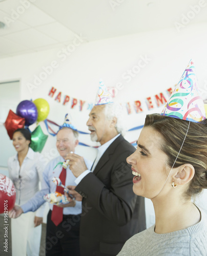 Group of coworkers at a retirement party
