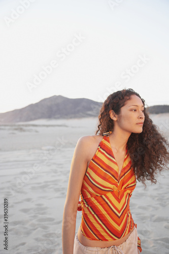 Hispanic woman on the beach