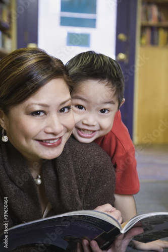 Close up of mother and young son smiling