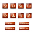 Set of glossy wooden vector web icons and menu buttons