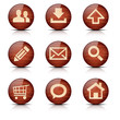 Set of glossy wooden vector web icons