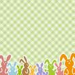 Frohe Ostern - bunte Hasen auf Karo