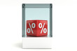 Red cube percent sign
