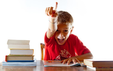 Back to school: a little boy getting his homework right