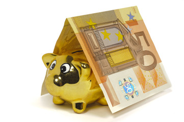 golden piggy bank and euro