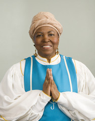 African woman wearing church choir gown