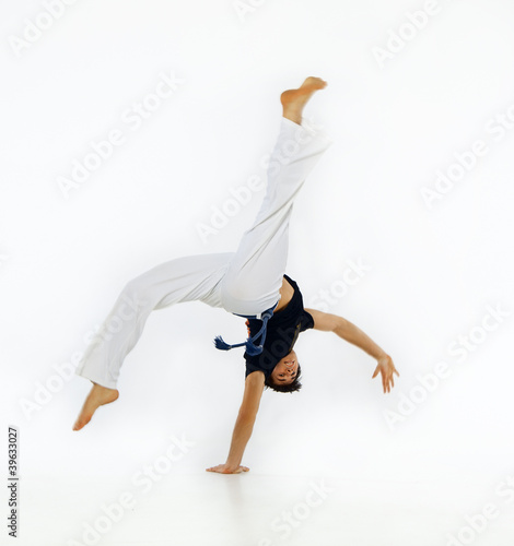 Guy engaged capoeira