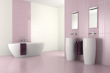 purple modern bathroom with double basin and bathtub