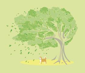 木と柴犬のイラスト