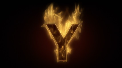 Fiery letter Y  burning in loop with particles