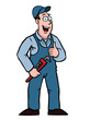 Plumber in overall holding a wrench and his thumbs up