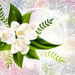 Vector fresh green abstract spring background with flowers