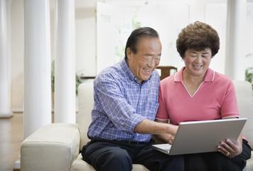 Senior Asian couple looking at laptop