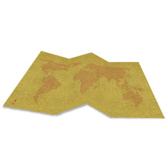 World map navigation on grunge recycle paper