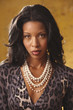 Portrait of African woman wearing leopard print blouse